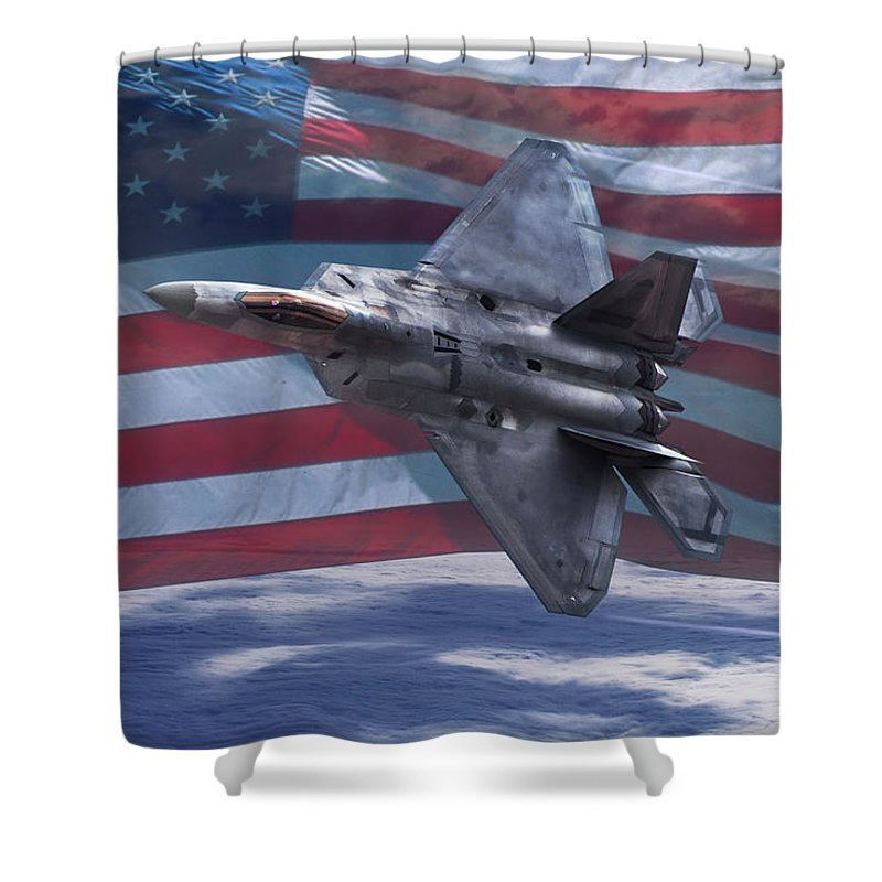 American Flag Shower Curtain featuring the digital art A Raptor's Salute by Erik Simonsen
