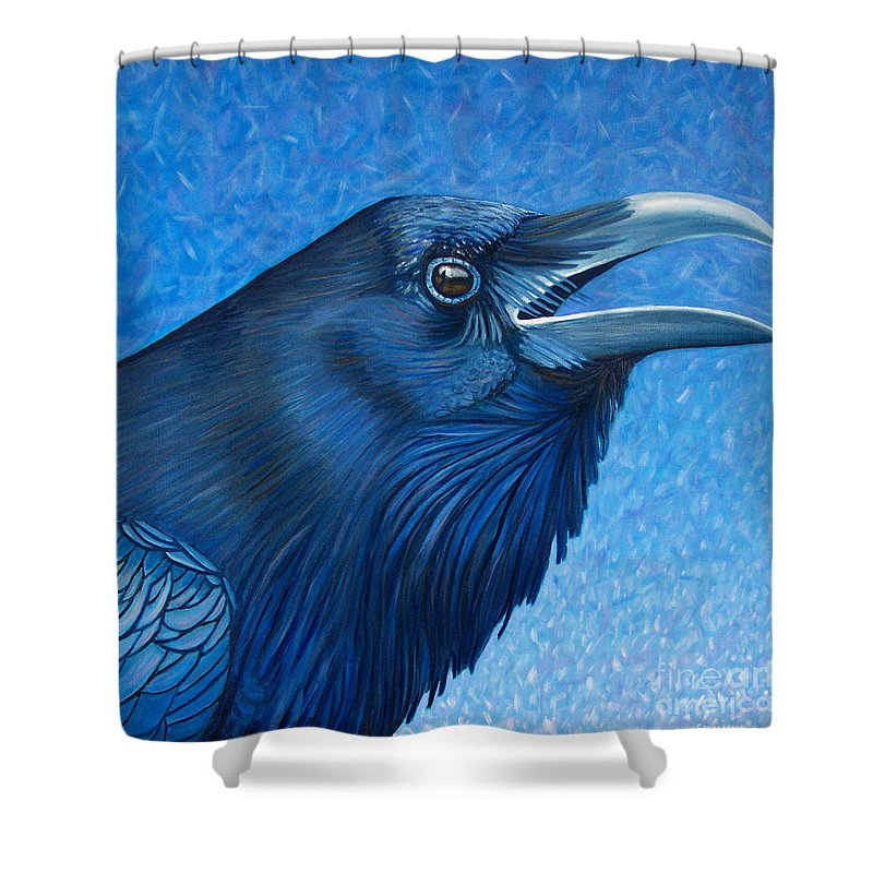 Raven Shower Curtain featuring the painting A Raven's Prayer by Brian Commerford