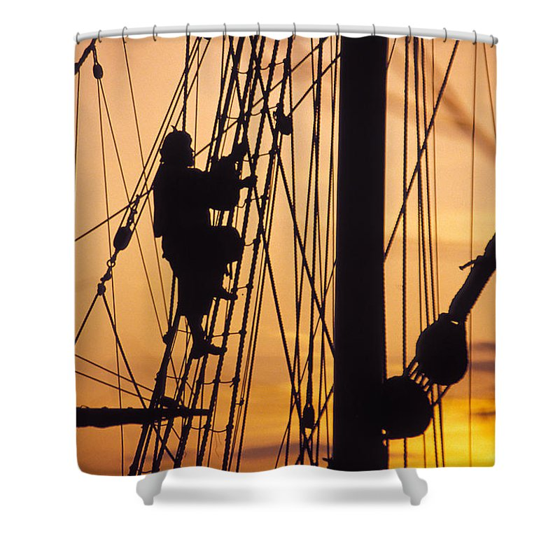 Climb Shower Curtain featuring the photograph A Reenactors Climbs Up A Reconstructed by Richard Nowitz