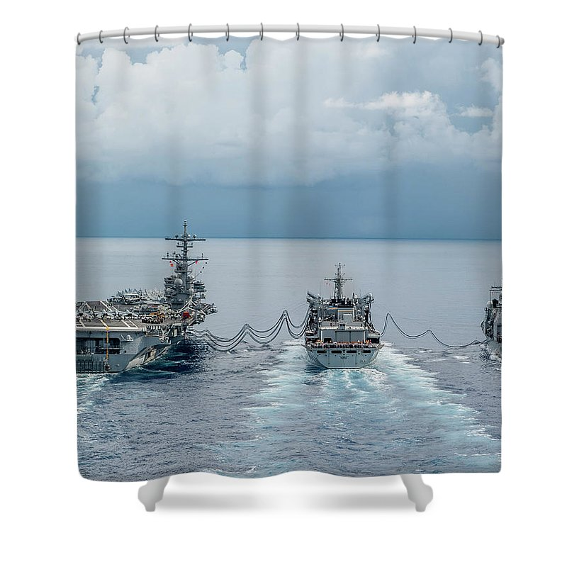 Military Shower Curtain featuring the painting A Replenishment At Sea by Celestial Images