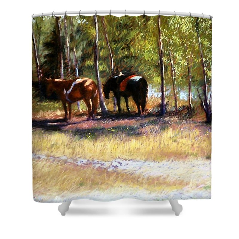 Pastel Shower Curtain featuring the painting A Rest By The River by Mary McInnis