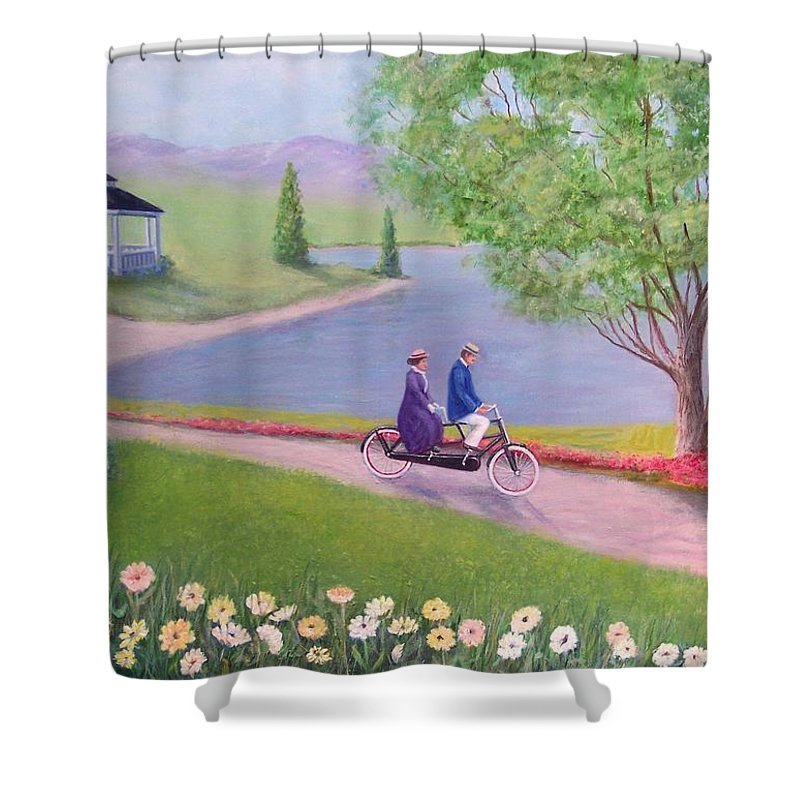 Landscape Shower Curtain featuring the painting A Ride In The Park by William H RaVell III