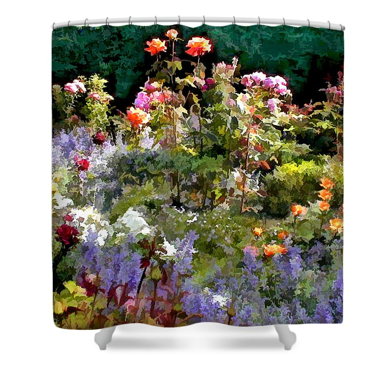 Nature Shower Curtain featuring the painting A Riot Of Roses by Elaine Plesser