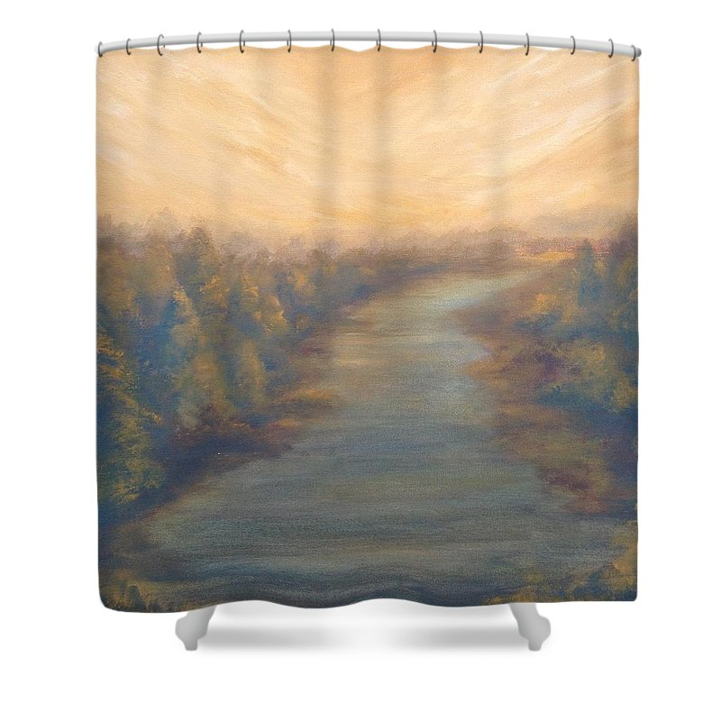 River Shower Curtain Featuring The Painting A Rivers Edge By T Fry Green