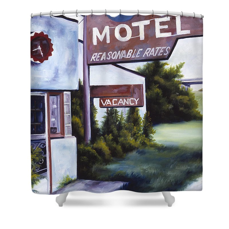 Motel; Route 66; Desert; Abandoned; Delapidated; Lost; Highway; Route 66; Road; Vacancy; Run-down; Building; Old Signage; Nastalgia; Vintage; James Christopher Hill; Jameshillgallery.com; Foliage; Sky; Realism; Oils Shower Curtain featuring the painting A Road Less Traveled by James Christopher Hill