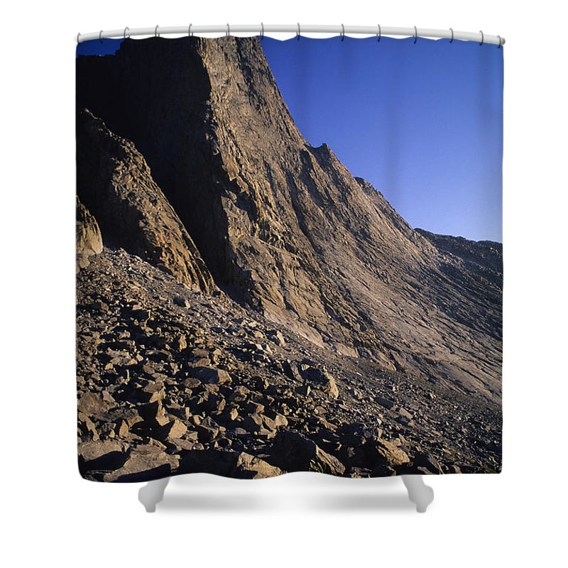 Big Horn Mountains Shower Curtain featuring the photograph A Rock Face On Cloud Peak In The Big by Bobby Model