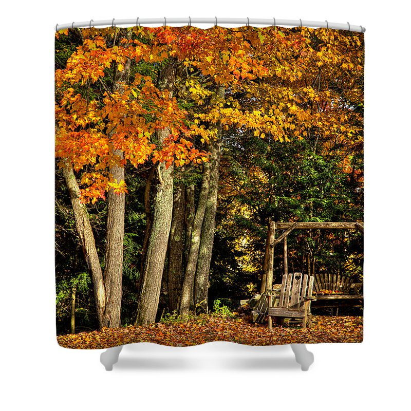 The Adirondacks Shower Curtain featuring the photograph A Romantic Autumn Spot In Inlet by David Patterson