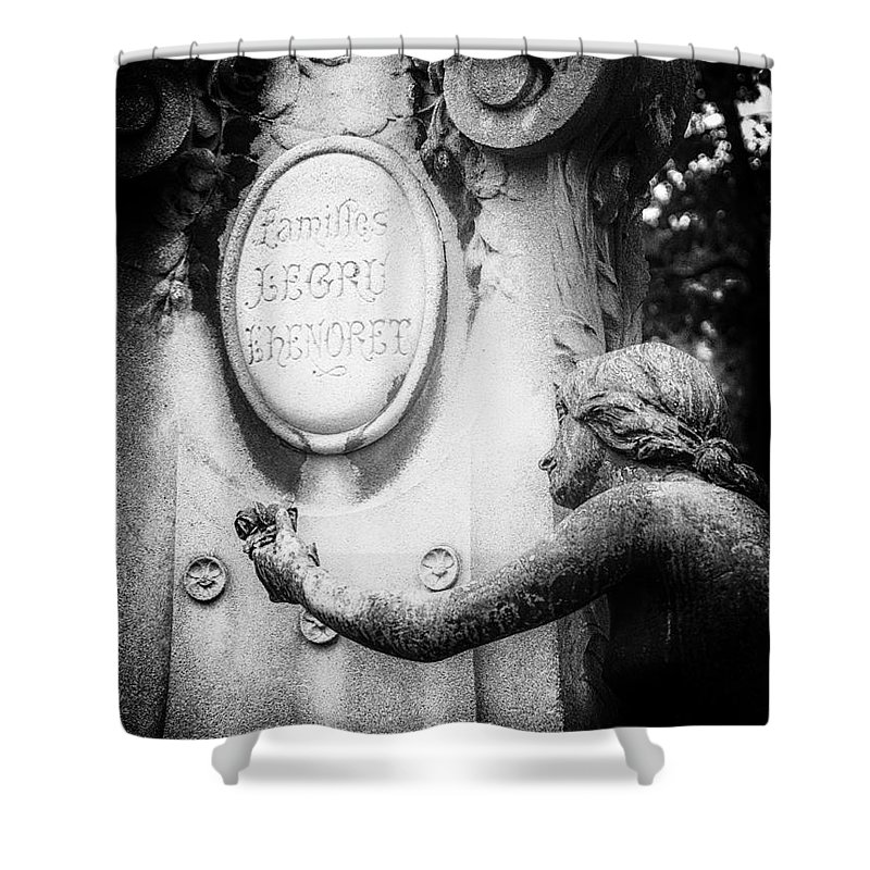 Cemetery Shower Curtain featuring the photograph A Rose For The Offering. by Urbanmoon Photography