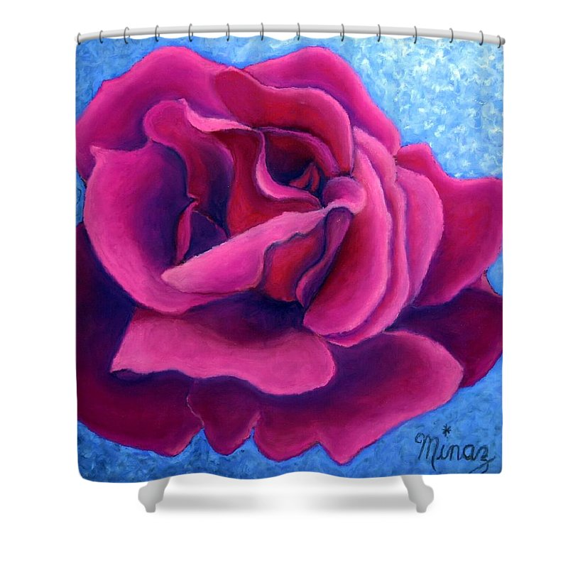Rose. Pink Rose Shower Curtain featuring the painting A Rose Is A Rose.. by Minaz Jantz
