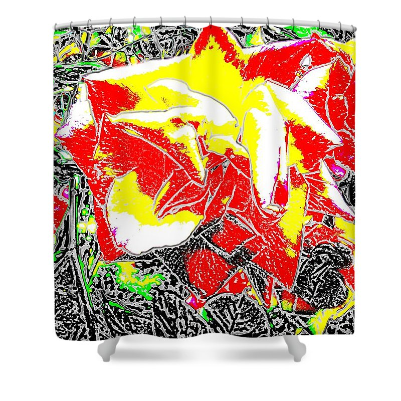 Rose Shower Curtain featuring the digital art A Rose Is by Tim Allen