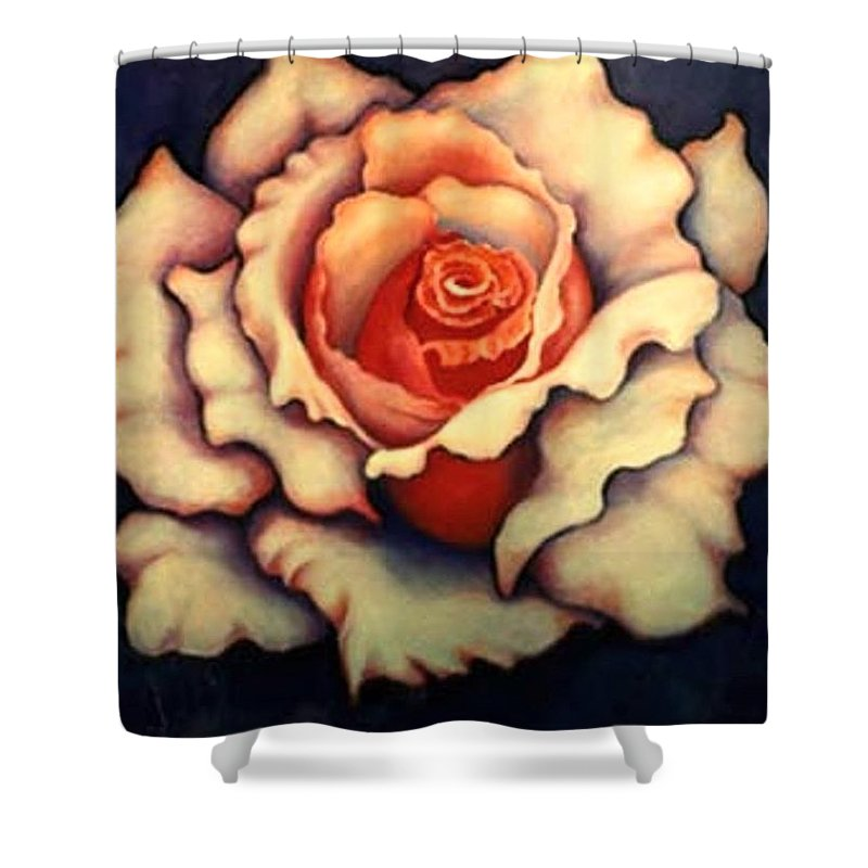 Flower Shower Curtain featuring the painting A Rose by Jordana Sands