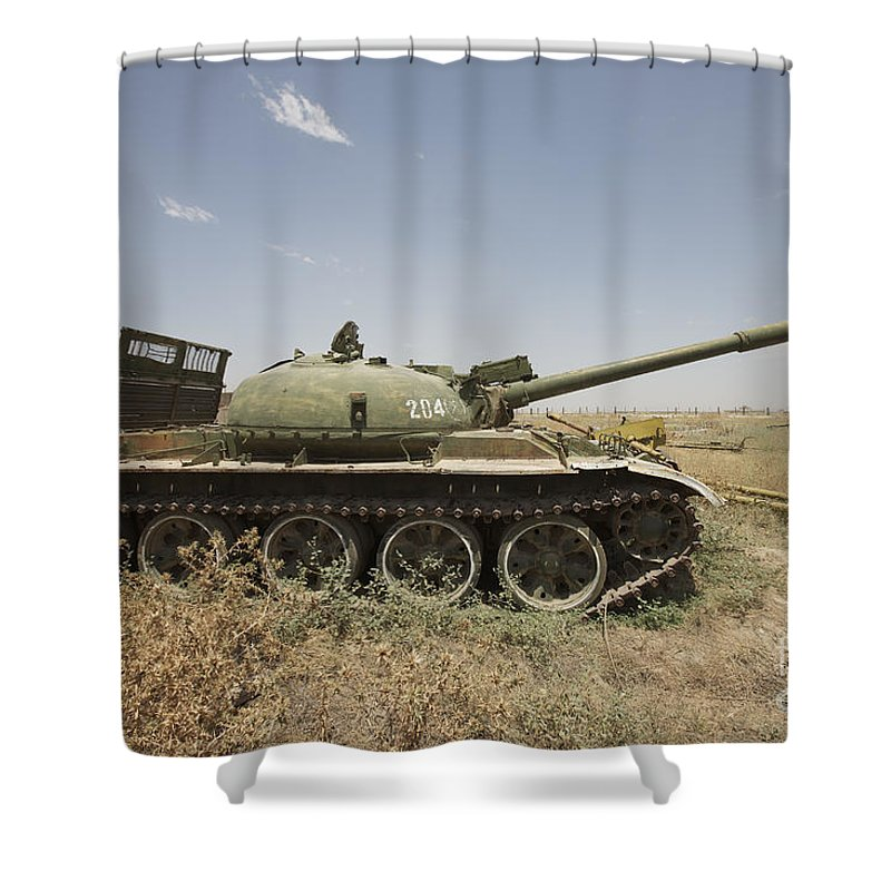 Turret Shower Curtain featuring the photograph A Russian T-62 Main Battle Tank Rests by Terry Moore