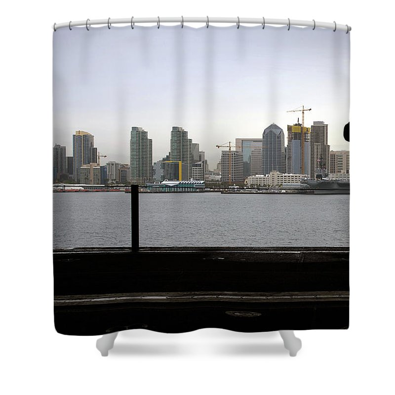 Military Shower Curtain featuring the painting A Sailor Looks At The San Diego Skyline During A Sea And Anchor Evolution.  by Celestial Images