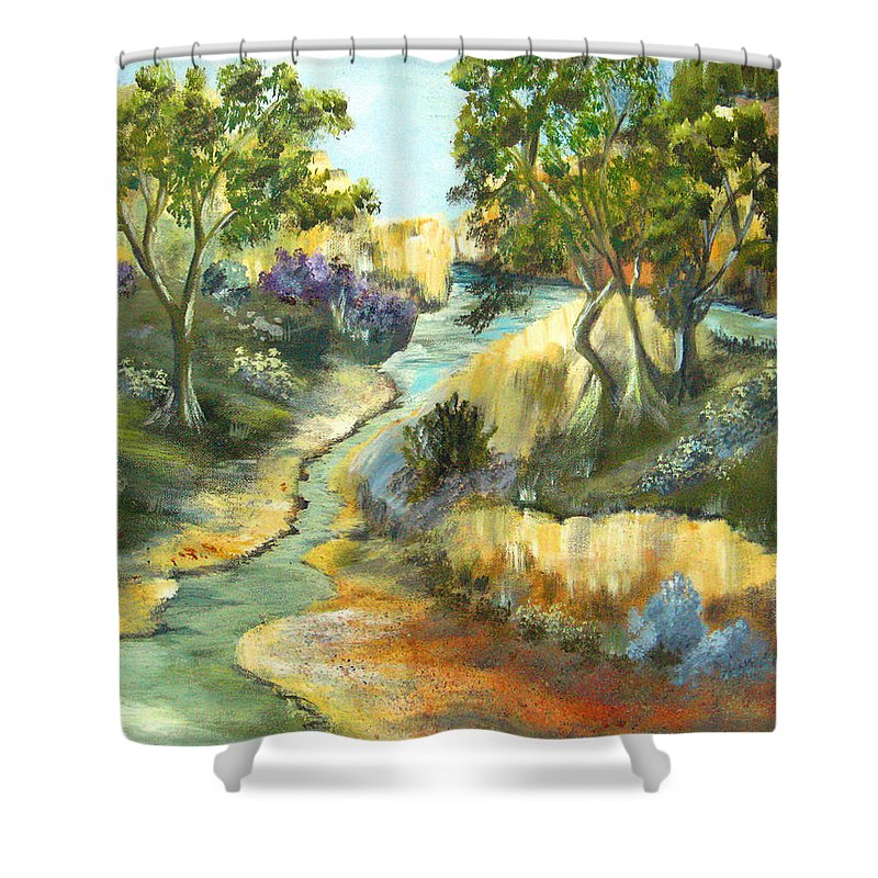 Landscape Shower Curtain featuring the painting A Sandy Place To Rest by Ruth Palmer