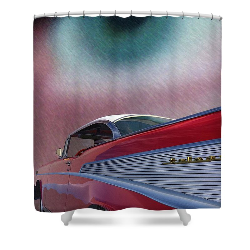 Classic Cars Shower Curtain featuring the digital art A Second Look by Richard Rizzo