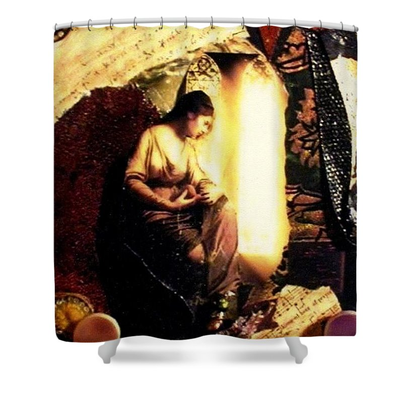 Mixed Media Shower Curtain featuring the mixed media A Secret Place by Gail Kirtz
