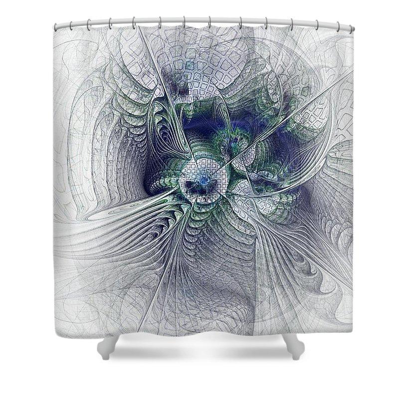 Spiritual Shower Curtain featuring the digital art A Secret Sky - Fractal Art by NirvanaBlues