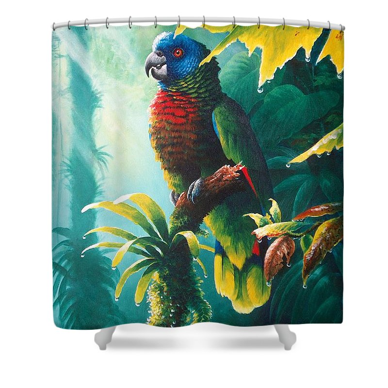 Chris Cox Shower Curtain featuring the painting A Shady Spot - St. Lucia Parrot by Christopher Cox