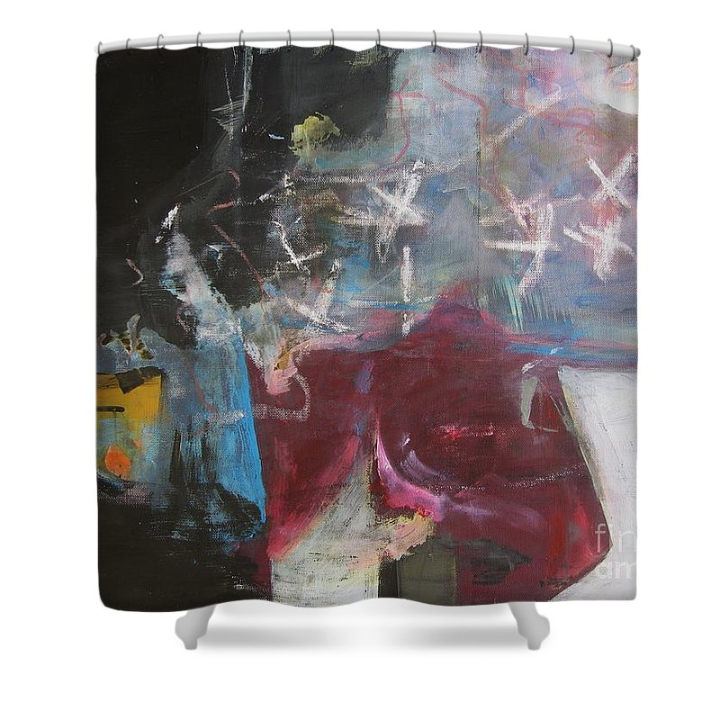Abstract Paintings Shower Curtain featuring the painting A Short Story by Seon-Jeong Kim