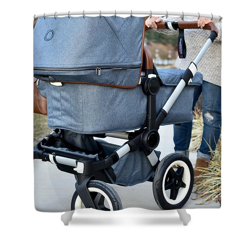 Mother And Stroller Shower Curtain featuring the photograph A Simple Walk by Jeramey Lende