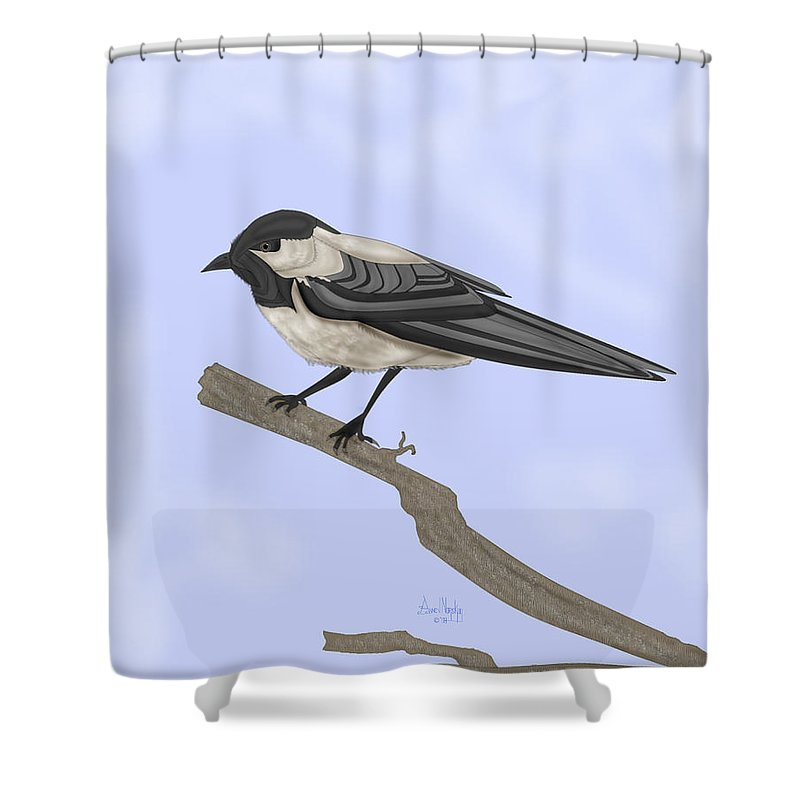 Bird Shower Curtain featuring the painting A Small Guest by Anne Norskog