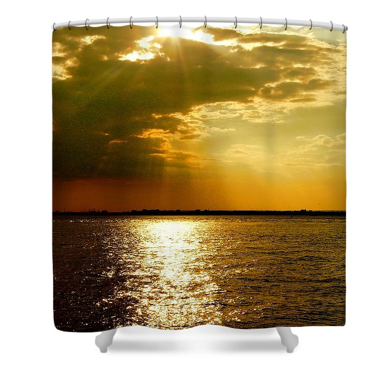 Gold Shower Curtain featuring the photograph A Spiritual Sunday by Kendall Eutemey