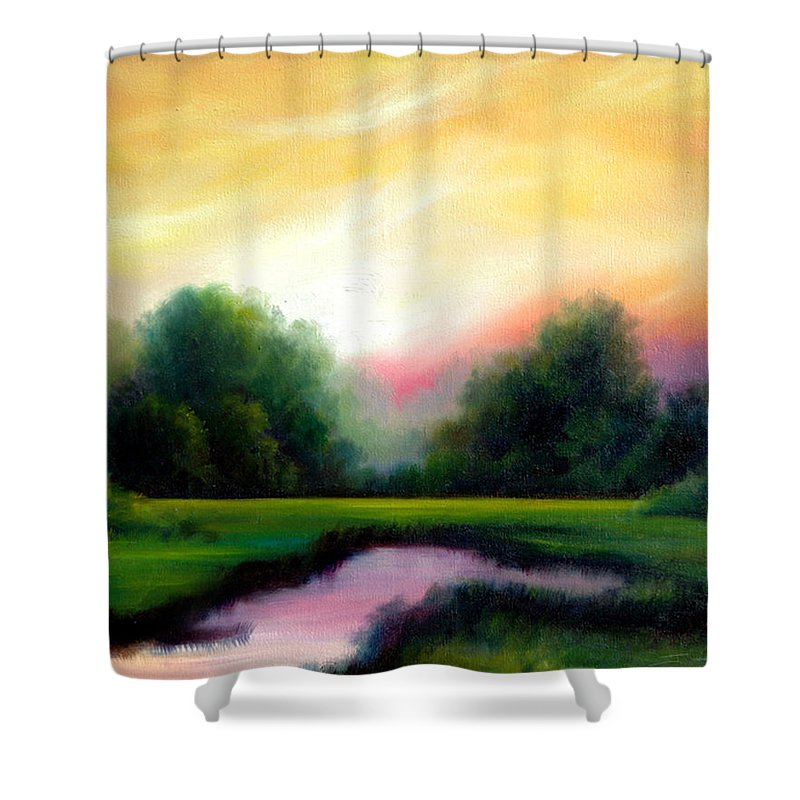 Clouds Shower Curtain featuring the painting A Spring Evening by James Christopher Hill