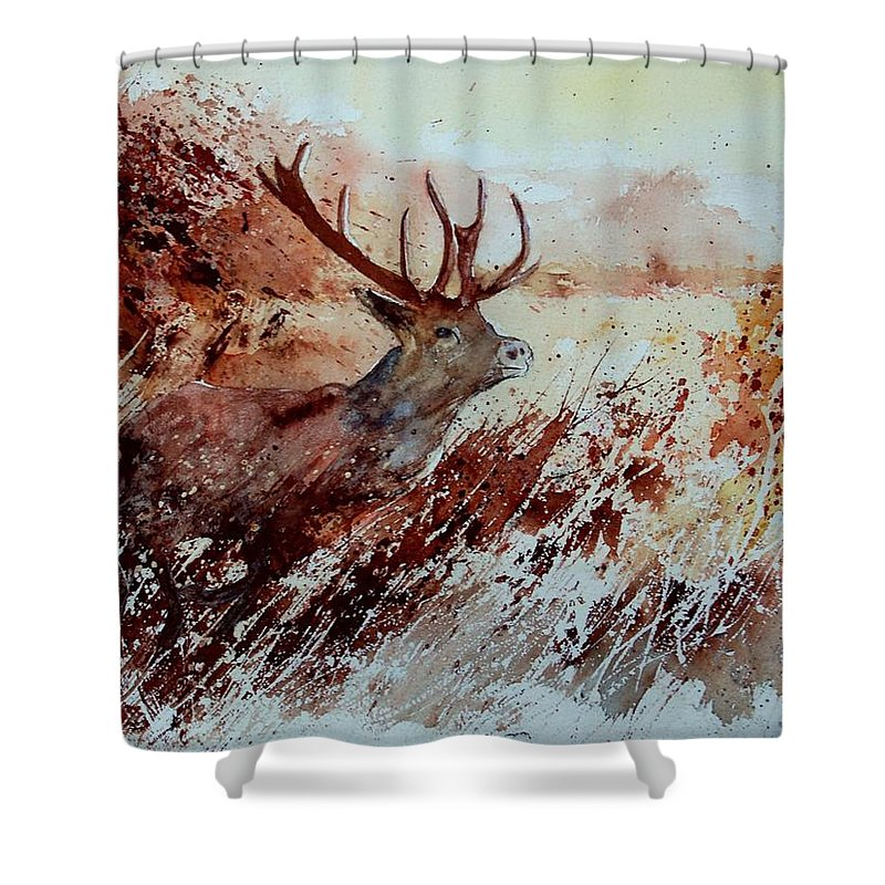 Animal Shower Curtain featuring the painting A Stag by Pol Ledent