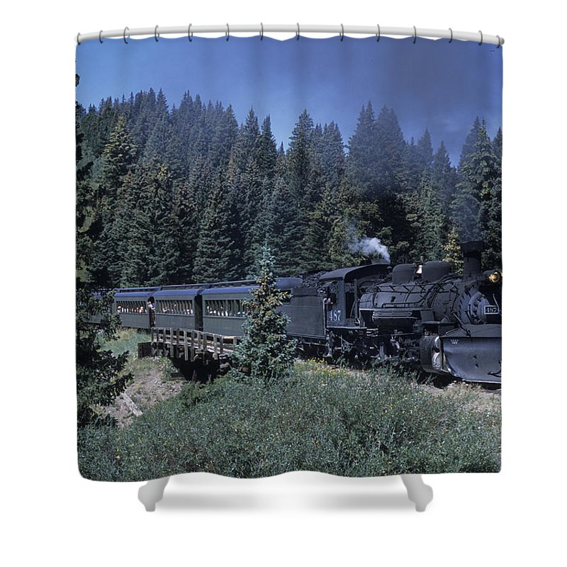 Cumbres Shower Curtain featuring the photograph A Steam Engine Chugs Through A Mountain by Taylor S. Kennedy