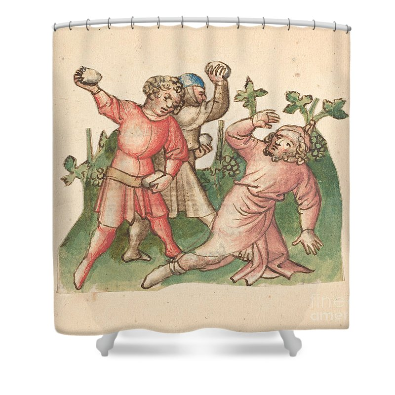 Shower Curtain featuring the drawing A Stoning by Austrian 15th Century