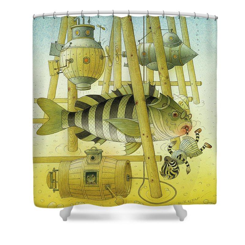 Striped Zebra Animals Fish Submarine Underwater Water Sea Sand Illustration Children Book Shower Curtain featuring the painting A Striped Story07 by Kestutis Kasparavicius