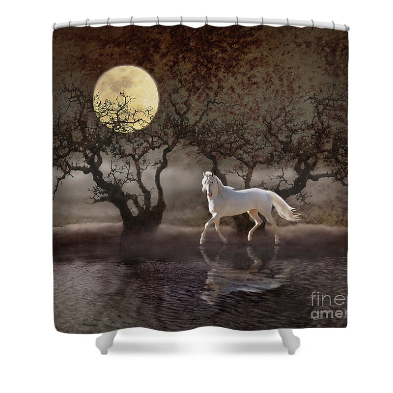 White Horses Shower Curtain featuring the photograph A Summer Night's Dream by Melinda Hughes-Berland