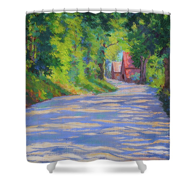 Landscape Shower Curtain featuring the painting A Summer Road by Keith Burgess