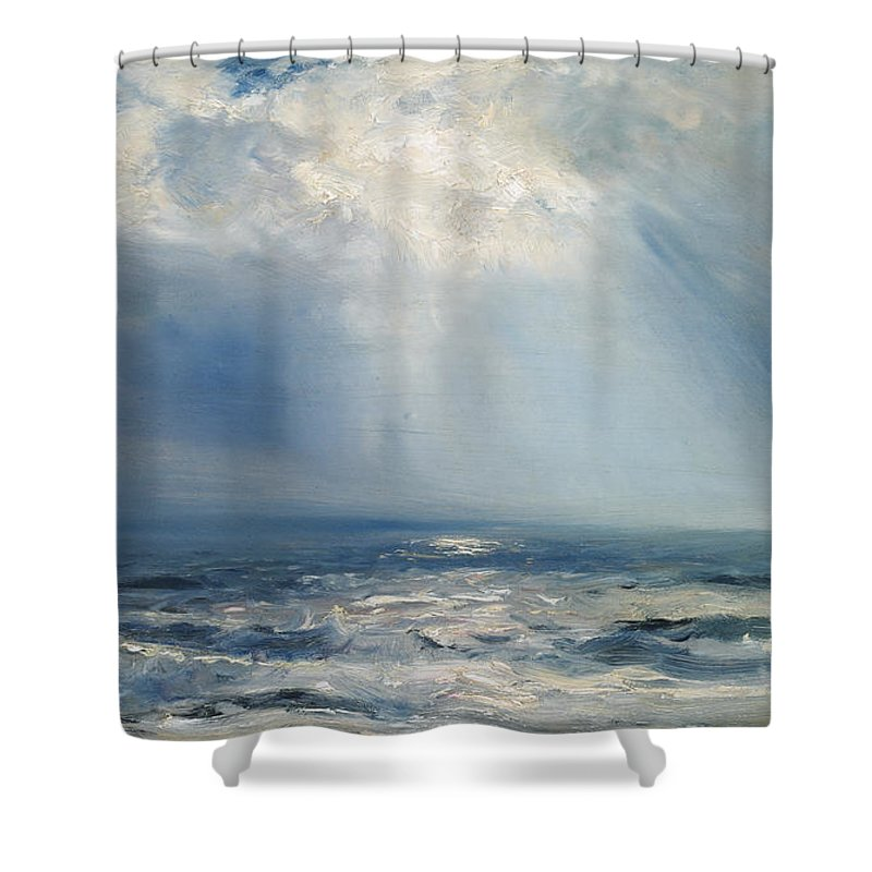 Seascape Shower Curtain Featuring The Painting A Sunbeam Over Sea By Henry Moore