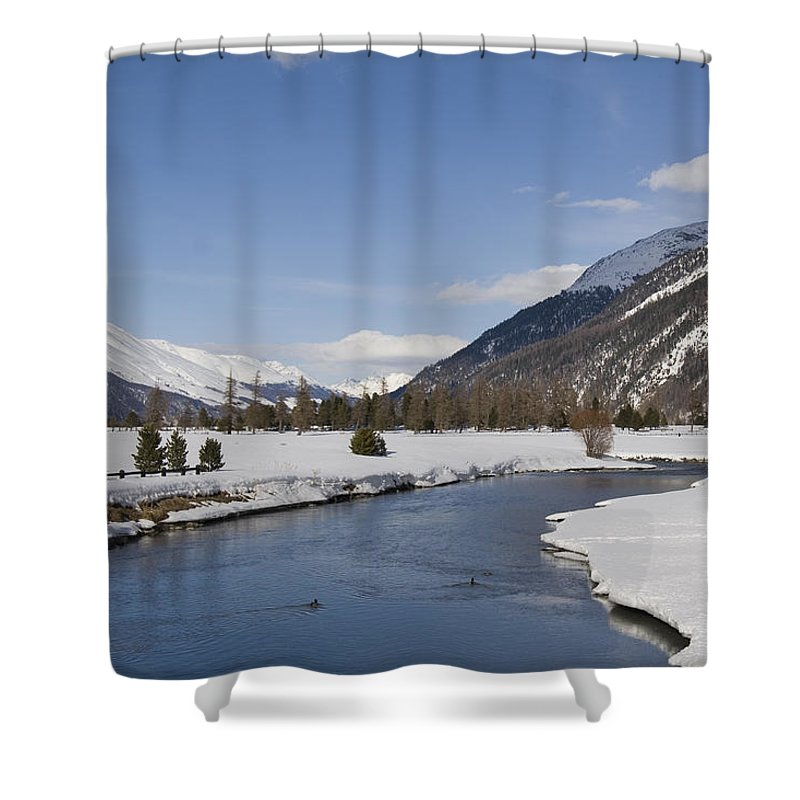 Trains Shower Curtain featuring the photograph A Sunny Winter Scene In The Swiss Alps by Taylor S. Kennedy
