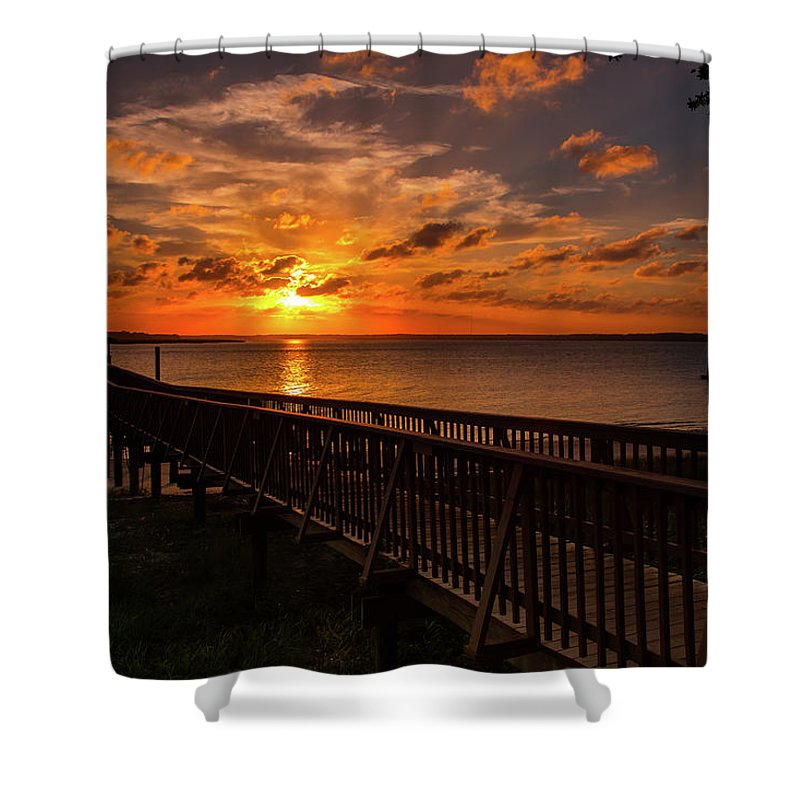 Golden Shower Curtain featuring the photograph A Sunset At Spanish Wells by Cliff Middlebrook