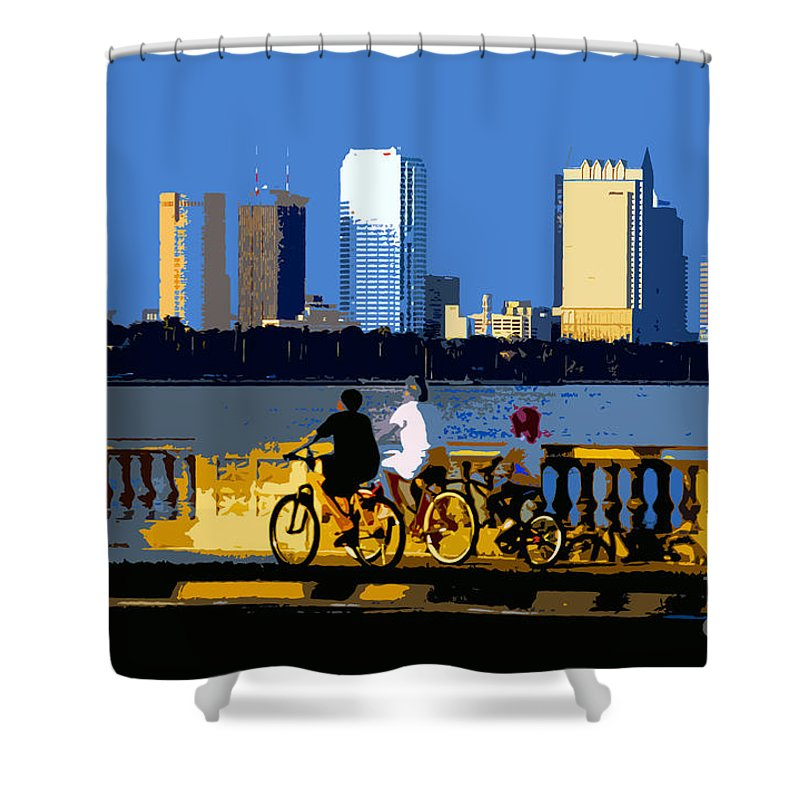 Tampa Bay Florida Shower Curtain featuring the painting A Tampa Bay Florida Summer by David Lee Thompson