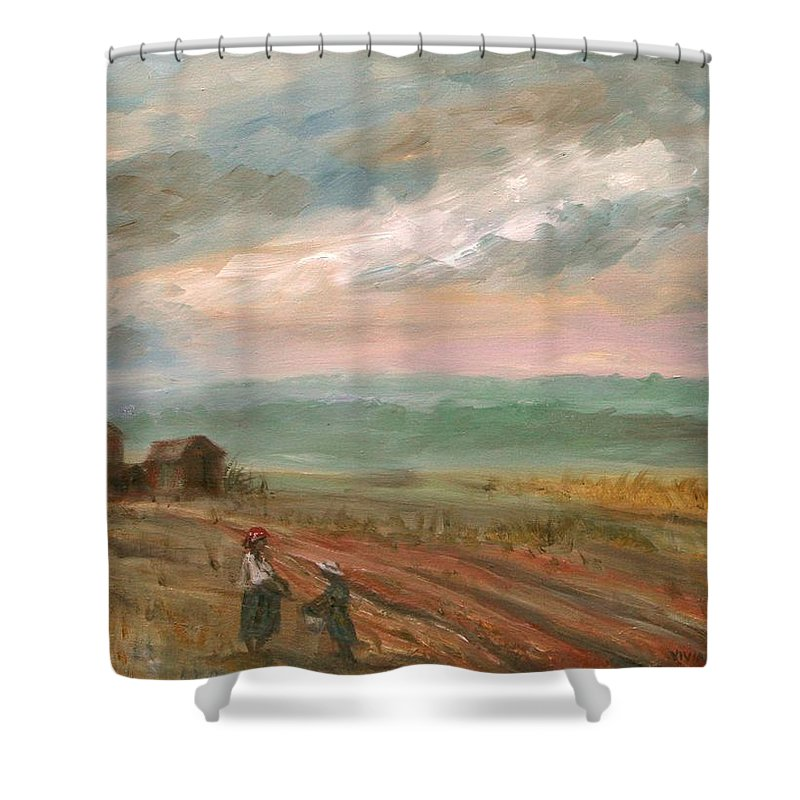 Landscape Shower Curtain featuring the painting A Time To Plant - Sold by Vivan Robinson