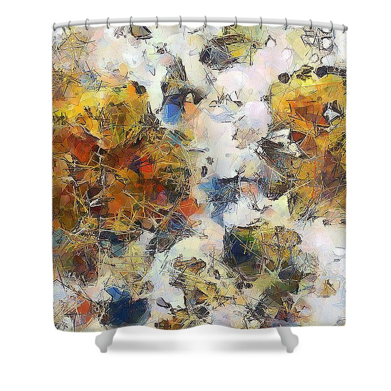 Abstract Shower Curtain featuring the painting A Tiptoe Through The Subconscious by RC DeWinter