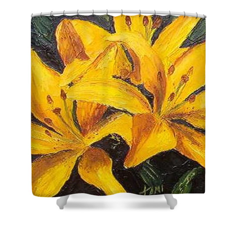Shower Curtain featuring the painting A Touch Of Gold by Tami Booher