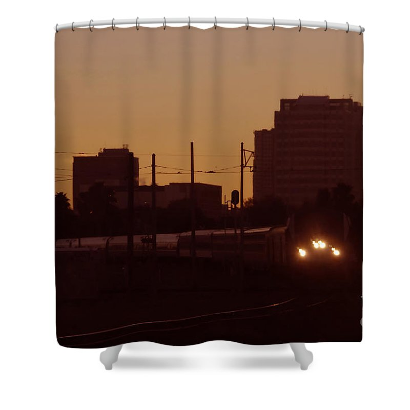 Train Shower Curtain featuring the photograph A Train A Com In by David Lee Thompson
