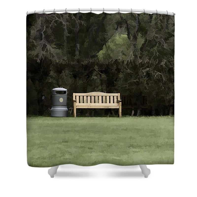 Bench Shower Curtain featuring the photograph A Trash Can And Wooden Benches In A Small Grassy Area by Ashish Agarwal