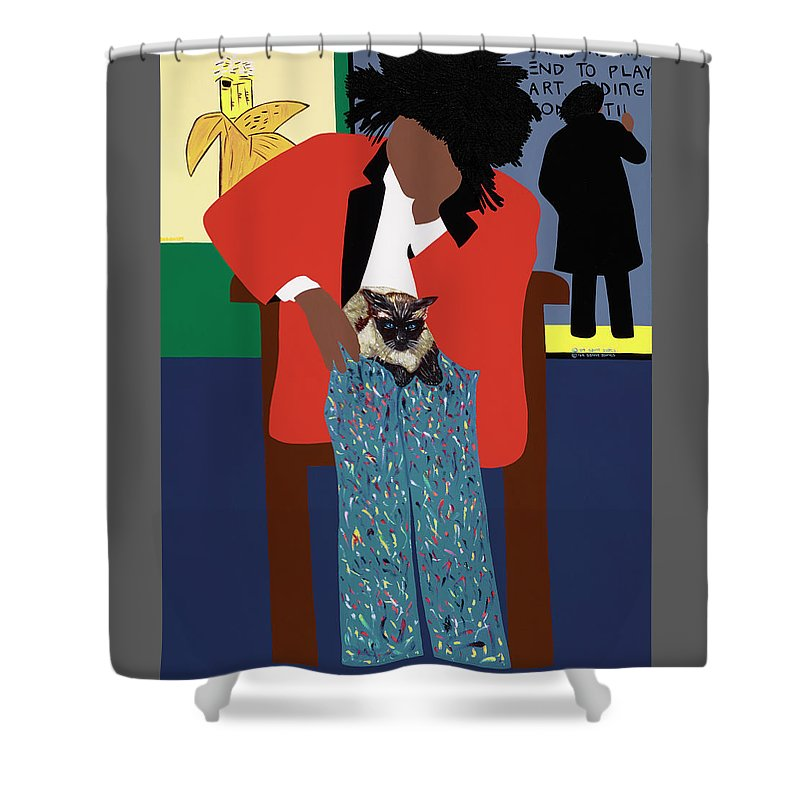 Jean Michel Basquiat Shower Curtain Featuring The Painting A Tribute To