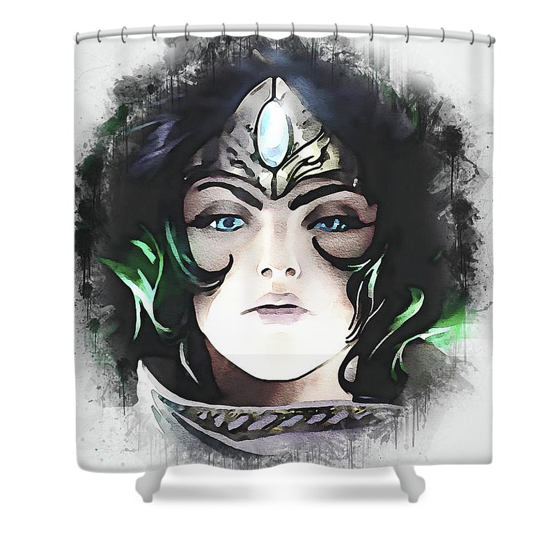 Video Games Shower Curtain featuring the digital art A Tribute To Sivir by Dusan Naumovski