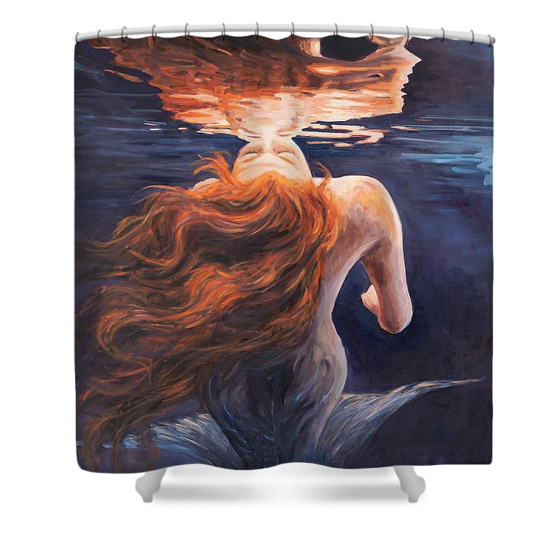 Mermaid Shower Curtain featuring the painting A Trick Of The Light - Love Is Illusion by Marco Busoni