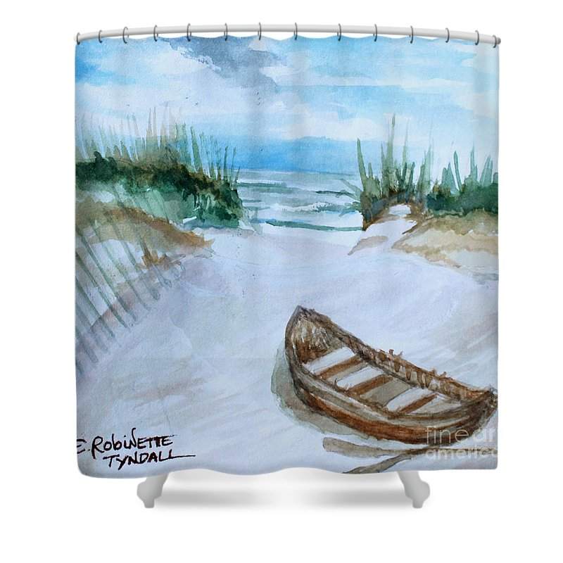 Landscape Shower Curtain featuring the painting A Trip To The Beach by Elizabeth Robinette Tyndall