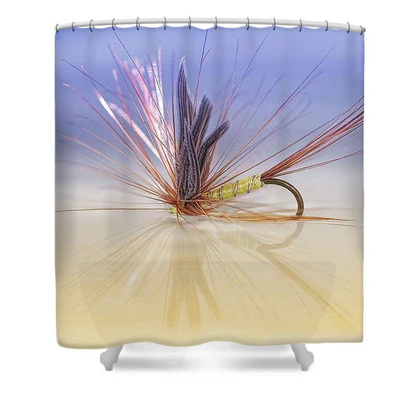 Greenwellsglory Shower Curtain featuring the photograph A Trout Fly (greenwell's Glory) by John Edwards