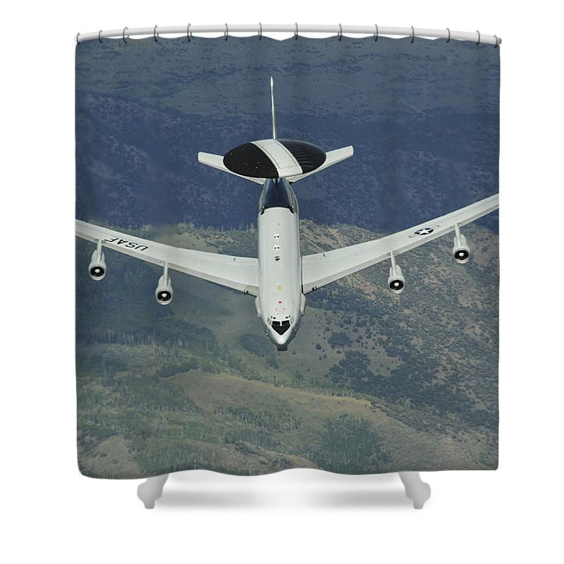 Awacs Shower Curtain featuring the photograph A U.s. Air Force E-3 Sentry Airborne by Stocktrek Images
