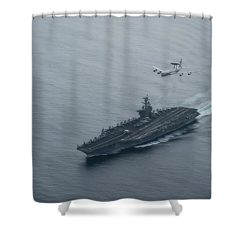 Military Shower Curtain featuring the painting A U.s. Air Force E-3 Sentry Flies Over Uss Theodore Roosevelt.  by Celestial Images