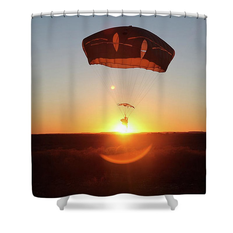 Military Shower Curtain featuring the painting A U.s. Army Paratrooper, Conducts Airborne Operations by Celestial Images